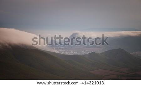 Landscape. Crimean mountains in the clouds. Sudak, Crimea, Russia - stock photo