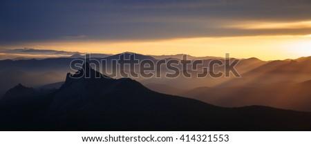 Landscape. Crimean mountains Taraktash at sunset - stock photo