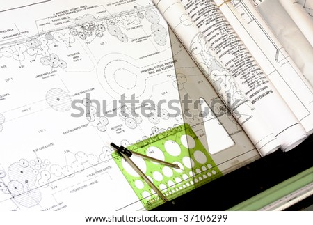 Landscape Design with Drafting Tools, horizontal - stock photo