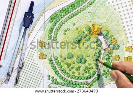 Landscape Designs Blueprints  - stock photo