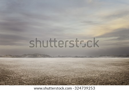 landscape dry ground  - stock photo