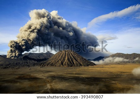 landscape Eruption Mount Bromo locations East Java indonesia - stock photo