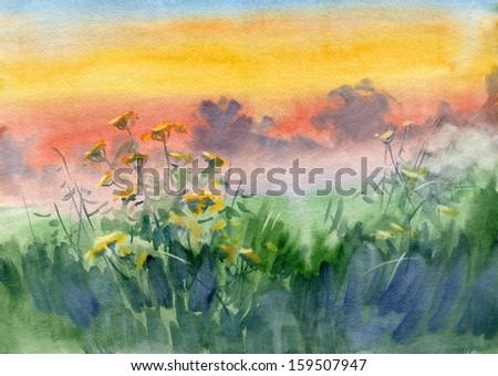 Landscape. Evening. Sunset. Watercolor. - stock photo