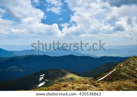 Landscape from a mountaintop - stock photo