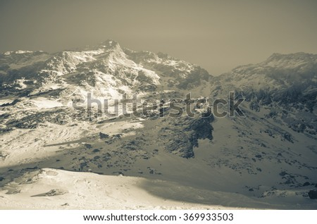 Landscape from Balea Lake, Transfagarasan, Romanian Carpathians - stock photo