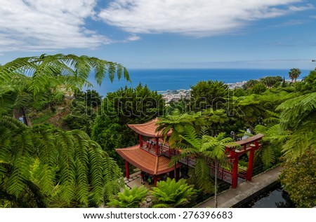 Landscape from Monte Palace Tropican Garden. Funchal, Madeira island, Portugal.  - stock photo