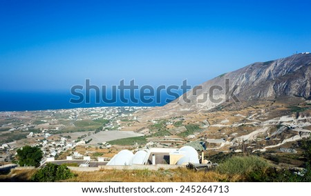 Landscape from Santorini island at the Cyclades in Greece - stock photo
