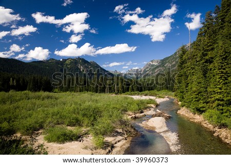 Landscape from the northwest with river and forest - stock photo