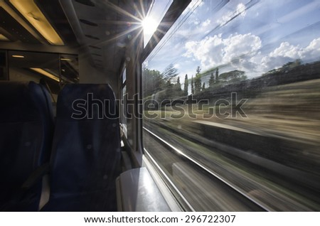 Landscape from the window of the train - stock photo