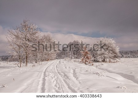 Landscape.frozen snowy road, trees in the morning before the storm - stock photo