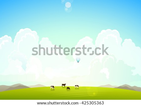 Landscape illustration with mountains, hills and clouds, cows on a green meadow. Rasterized Copy - stock photo