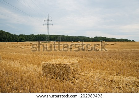 Landscape image of freshly stacked bales of hay with electricity power pylons running through the frame and a distant tractor working in the background - stock photo