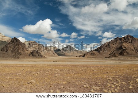Landscape in altitude, by the Pamirs mountains, Tajikistan - stock photo