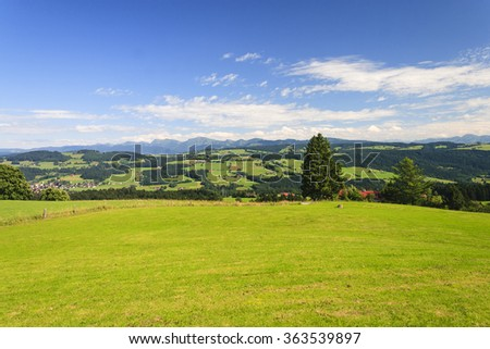Landscape in Bavaria, with mountains in the background - stock photo
