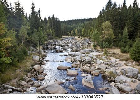 Landscape in Czech mountains Jizerske hory in the autumn, Czech-polish border river - stock photo