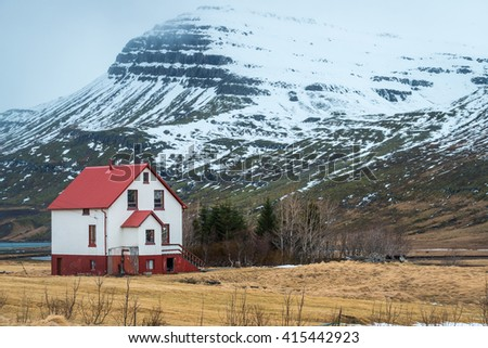 Landscape in east fjord of Iceland. - stock photo