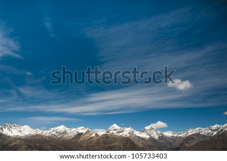 Landscape in Himalayas in Nepal - stock photo
