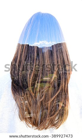 Landscape in long hair of a woman. Double exposure taken with the camera. - stock photo