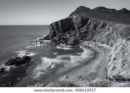 Landscape in Los Amarillos. Natural Park of Cabo de Gata. Spain. - stock photo