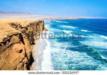 Landscape in Paracas National Park Reserve, Pisco, Peru - stock photo