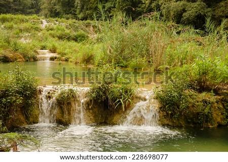 Landscape in Semuc Champey, Lanquin, Guatemala, Central America - stock photo