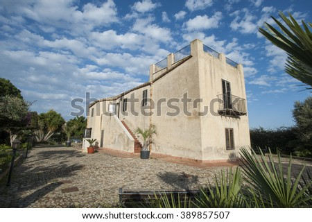 landscape in Sicily with villa, Italy, Europe - stock photo