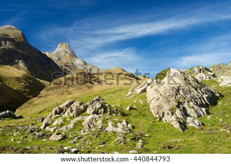 Landscape in the Aneou, Ossau Valley, Pyrenees National Park, Pyrenees, France. - stock photo