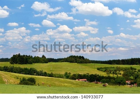 landscape in the Czech Republic, meadows, forests - stock photo