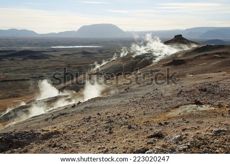Landscape in the geothermal area Hverir, Iceland. - stock photo