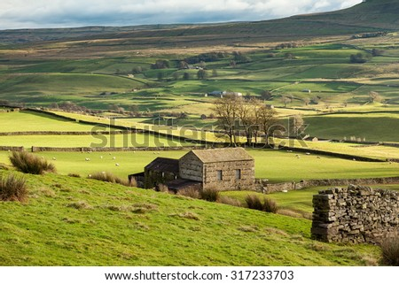 Landscape in the Yorkshire Dales near Hawes in Wensleydale, England. - stock photo