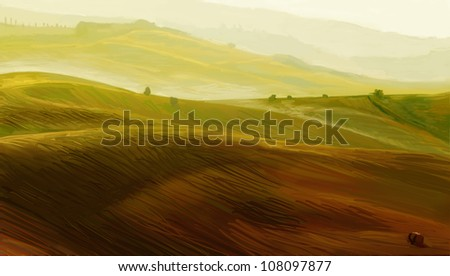 Landscape in Tuscany - illustration - stock photo