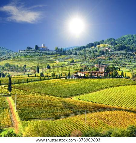 Landscape in Tuscany, Italy - stock photo