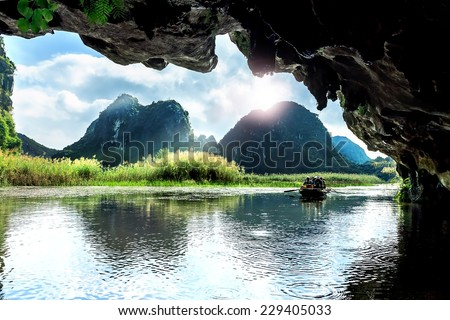 Landscape in Van Long natural reserve in Ninh Binh, Vietnam - stock photo