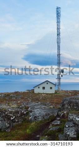 landscape Lofoten Islands with radio - stock photo