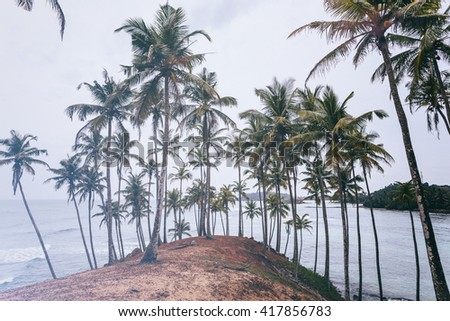 landscape. Mirissa Beach. Sri Lanka. Instagram effect (vintage). - stock photo