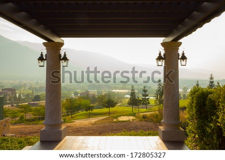 Landscape natural view from balcony - stock photo