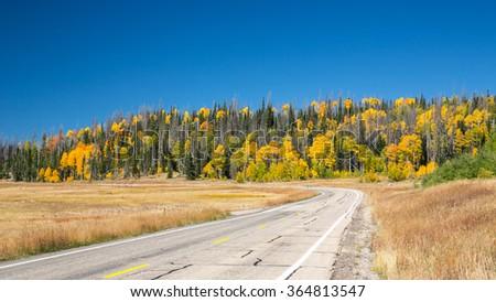 Landscape near Zion Canyon in Utah during fall season. - stock photo