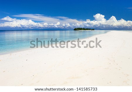 Landscape of a small uninhabited island in Malaysia - stock photo