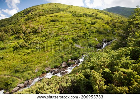 Landscape of a stream in Carpathian mountains. Chornohora massif in eastern Carpathians. - stock photo