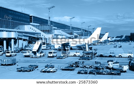 landscape of airfield in Argentina - stock photo