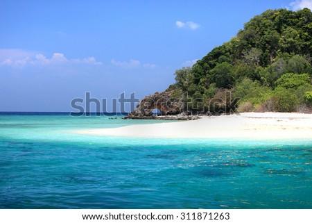 Landscape of Andaman Sea with sea coast and blue sky in Lipe Island, Sounthern Thailand. - stock photo
