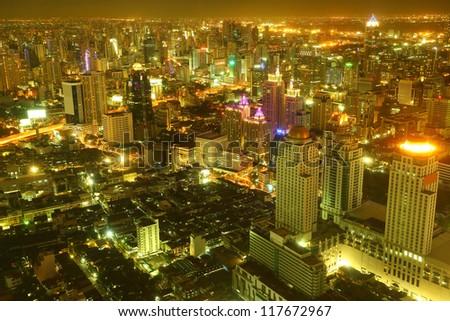 Landscape of Bangkok city at Night - stock photo