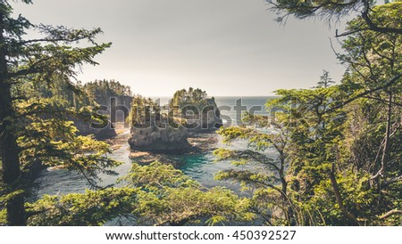 Landscape of Cape Flattery, the north-westernmost point of Washington state and American, Olympic Peninsula, Washington State, USA. Cape Flattery is famous for whale watching. - stock photo