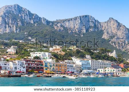 Landscape of Capri island, Italy, Bay of Naples - stock photo