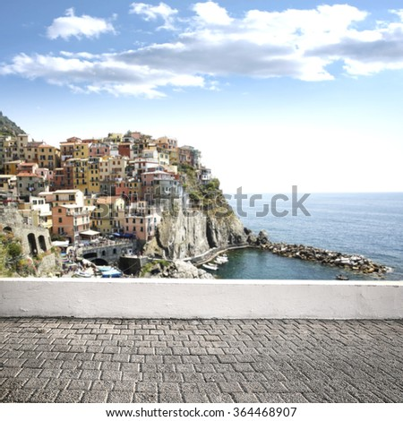 landscape of city and sea with street of free space  - stock photo