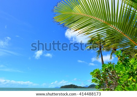 Landscape of Clifton beach near Cairns in Tropical North Queensland, Queensland, Australia. - stock photo