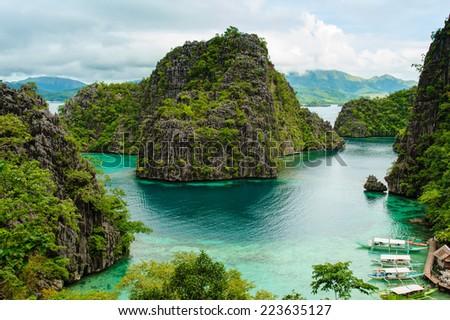 landscape of Coron, Busuanga island, Palawan province, Philippines - stock photo