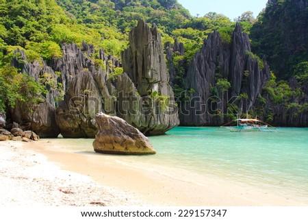Landscape of El Nido. Palawan island. Philippines. - stock photo