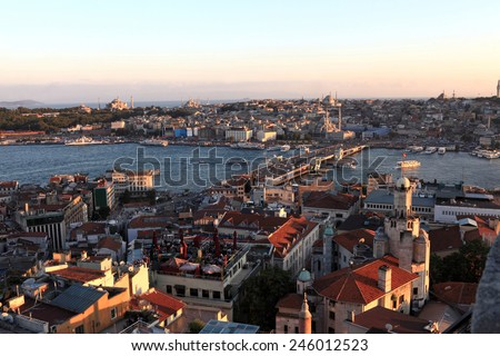 Landscape of Golden Horn at sunset in Istanbul, Turkey - stock photo