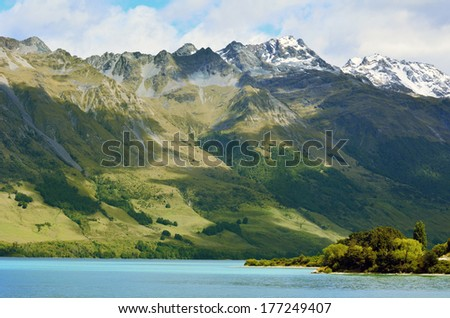 Landscape of high range above lake Wakatipu near Glenorchy in the south Island, New Zealand. - stock photo